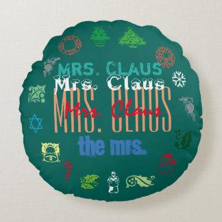 'Mrs. Claus' Round Pillow