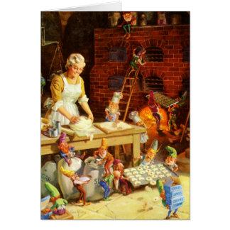 Mrs Claus Santa s Elves Bake Christmas Cookies Cards