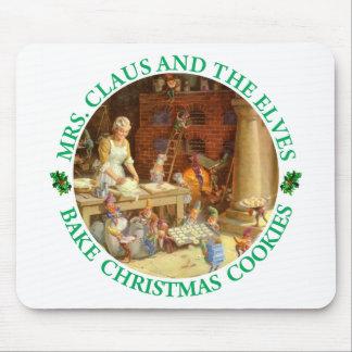 Mrs. Claus & Santa's Elves Bake Christmas Cookies Mouse Pad