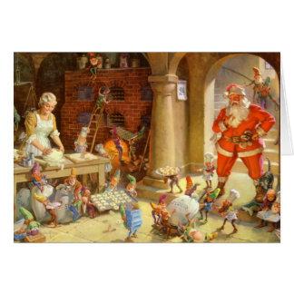 Mrs. Claus & Santas Elves baking Christmas Cookies Card