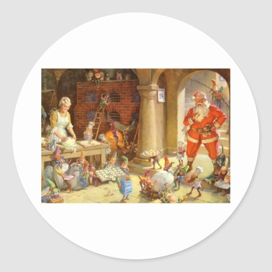 Mrs. Claus & Santas Elves baking Christmas Cookies Classic Round Sticker