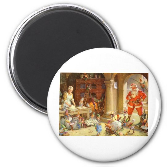 Mrs. Claus & Santas Elves baking Christmas Cookies Magnet