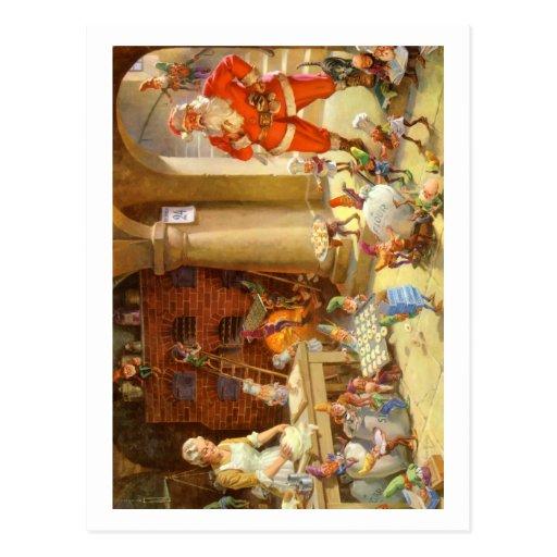 Mrs. Claus & Santas Elves baking Christmas Cookies Post Cards