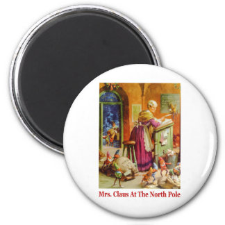 Mrs. Claus & the Elves Read Mail at the North Pole 2 Inch Round Magnet