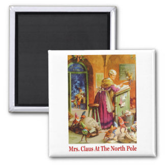 Mrs. Claus & the Elves Read Mail at the North Pole 2 Inch Square Magnet