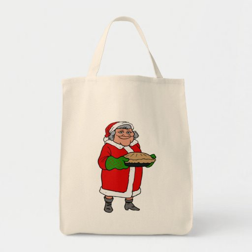 mrs claus with a pie grocery tote bag