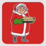 mrs claus with a pie square stickers