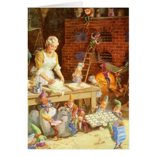 Mrs.Claus y los duendes de Santa cuecen las gallet Tarjeta