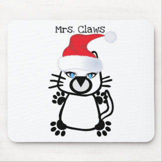 MRS. CLAWS CHRISTMAS KITTY PRINT MOUSE PAD