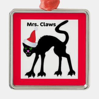 MRS. CLAWS CHRISTMAS KITTY PRINT CHRISTMAS TREE ORNAMENT