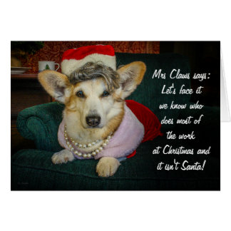 Mrs Claws Corgi Christmas Greeting Card