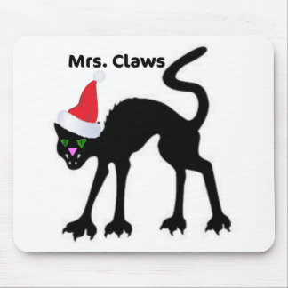 MRS. CLAWS SCARY CAT CHRISTMAS HAT PRINT MOUSE PAD