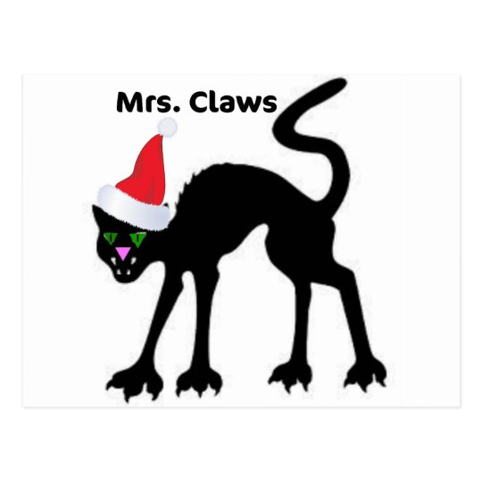 MRS. CLAWS SCARY CAT CHRISTMAS HAT PRINT POSTCARD