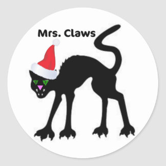 MRS CLAWS SCARY CAT CHRISTMAS HAT PRINT STICKERS