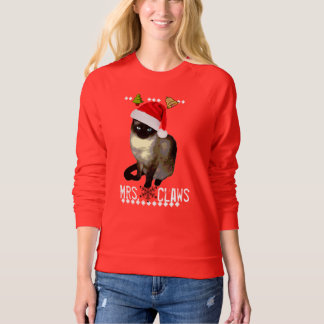"""""""Mrs. Claws"""" Siamese cat ugly christmas sweater"""