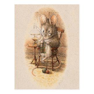 Mrs. Dormouse Knitting Postcards