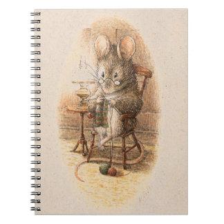 Mrs. Dormouse Knitting Spiral Note Books