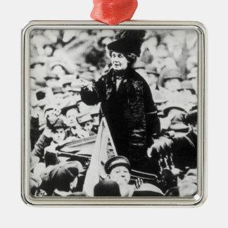Mrs Emmeline Pankhurst  Addressing a Crowd Metal Ornament