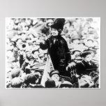 Mrs Emmeline Pankhurst  Addressing a Crowd Poster
