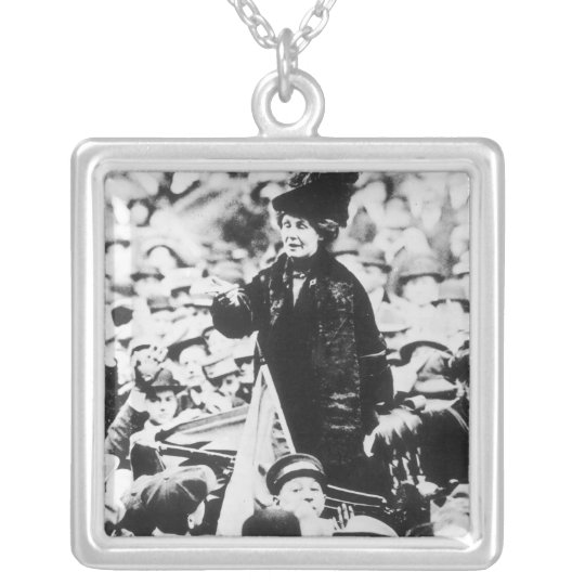 Mrs Emmeline Pankhurst  Addressing a Crowd Silver Plated Necklace