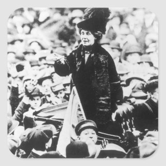 Mrs Emmeline Pankhurst  Addressing a Crowd Square Sticker