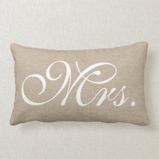 Mrs faux linen burlap rustic chic initial jute pillow