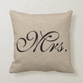 Mrs. faux linen burlap rustic chic initial jute throw pillow