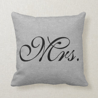 Mrs. faux linen french gray burlap rustic chic jut throw pillow