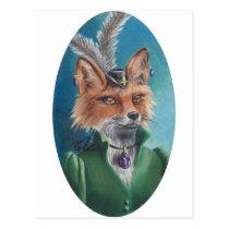 Mrs. Fox Postcard Animal Postcard Victorian Fox
