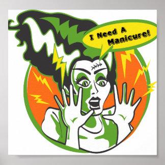 Mrs Frankenstein Needs a Manicure Poster