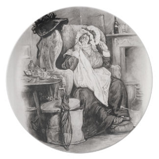 Mrs Gamp, from 'Charles Dickens: A Gossip about hi Party Plates