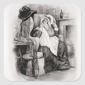 Mrs Gamp, from 'Charles Dickens: A Gossip about hi Square Sticker