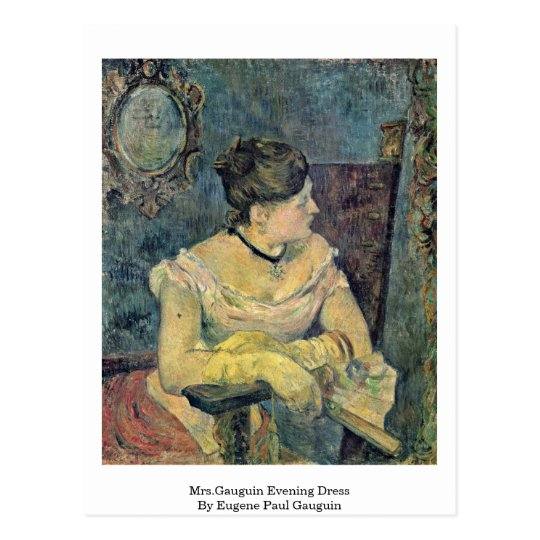 Mrs.Gauguin Evening Dress By Eugene Paul Gauguin Postcard