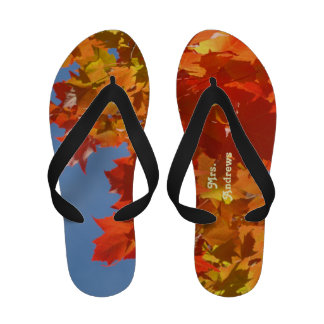 Mrs. gifts Autumn Leaves Flip Flops Married