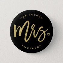 Mrs Gold Diamond Wedding Bridal Party Button