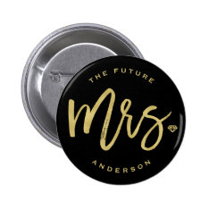 Mrs Gold Diamond Wedding Bridal Party Button at Zazzle