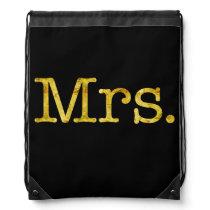 Mrs Gold Faux Glitter Metallic Inspirational Quote Drawstring Bag