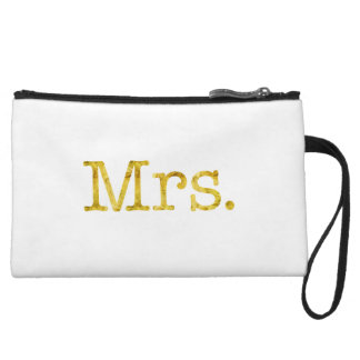 Mrs Gold Faux Glitter Metallic Inspirational Quote Wristlet