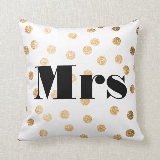 Mrs Gold Glitter Dots Reversible Black and White Throw Pillow