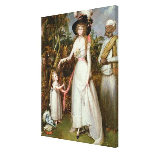 Mrs Graham of Kinross, her Daughter and a Jamadar, Canvas Print