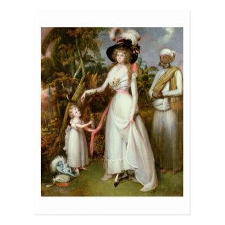 Mrs Graham of Kinross, her Daughter and a Jamadar, Postcard