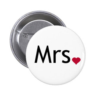 Mrs  - half of Mr and Mrs set Pinback Button