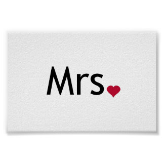 Mrs  - half of Mr and Mrs set Poster