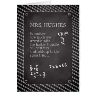 Mrs. Hughes, Math Teacher Christmas Personalized Card