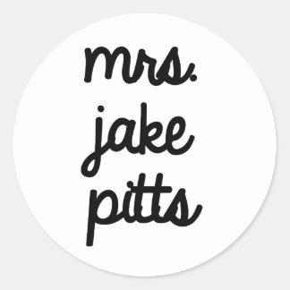 Mrs. Jake Pitts Classic Round Sticker