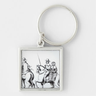 Mrs Jane Lane riding with King Charles II Silver-Colored Square Keychain