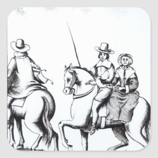 Mrs Jane Lane riding with King Charles II Square Sticker