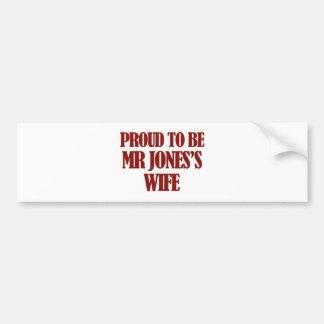 Mrs Jones designs Car Bumper Sticker