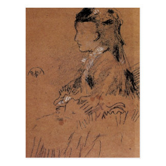 Mrs Leyland seated by Whistler Postcard