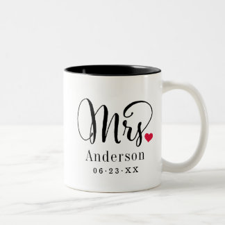 Mrs. Married Name   Wedding Gift Two-Tone Coffee Mug